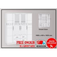Best JUMBO BW010 Lemari Pakaian Putih 4 pintu Kaca Full uk 1.6M