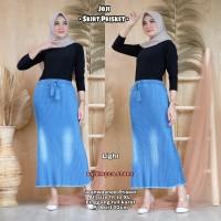 Rok Panjang Wanita Joji Plisket Jeans Skirt