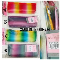Tempat pensil transparan rainbow seleting Xiaolingjing BD-774