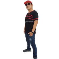 Femme Ols- Kaos Pria V-Neck Lis 3 Spandek Rayon Jumbo Premium High Qua - Hitam, M