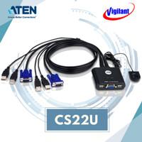 ATEN CS22U 2-Port USB VGA Cable KVM Switch with Remote Port Selector