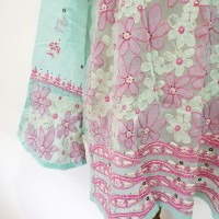 Bollywood Floral Embroidery Pastel Top Blouse