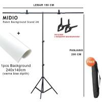 Paket Background Stand 2M + Background Studi Foto Midio 240x140