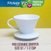 V60 Dripper 01 Ceramic Pour over Coffee Drip Kopi V60 Keramik Putih 01
