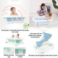 BAK MANDI BAYI LARGE + MATRAS ANTI SELIP + DUDUKAN BUSA BABY BATHTUB - Biru Muda