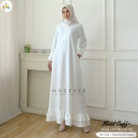 Modesee Gamis Ruffle Putih Polos Maid Cuff Muslimah Busui M1236-COD