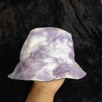 Topi Bucket Hat Tie Dye Warna Ungu