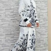 Baju Koko Batik + Sarung - Putih, M