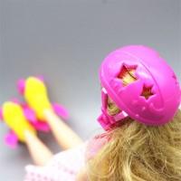 St 4Pcs Set Mainan Roller Skate Headset Helm Aksesoris untuk Boneka A