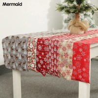 Microgood Christmas Table Runner Snowflake Elk Print Tablecloth