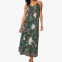 M&S - Set Piyama Wanita - Satin Floral Print Nightdress - KHAKI MIX
