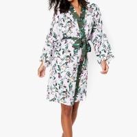 M&S - Set Piyama Wanita - Satin Floral Wrap Short Dressing Gown