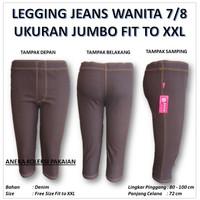 Celana Legging Selutut 7/8 Wanita Perempuan Big Size Jumbo Motif Jeans