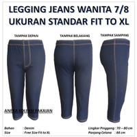 Celana Legging Selutut 7/8 Wanita Perempuan Ukuran Standar Motif Jeans