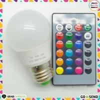 Lampu LED RGB dengan Remote Control Lampu Bohlam RGB 3W