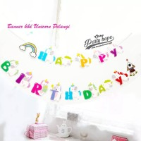 Banner happy birthday Unicorn awan pelangi / flag ulang tahun unicorn