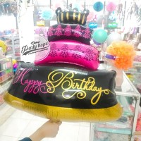 Balon Foil kue Happy Birthday 3 tingkat / balon kue ultah jumbo size