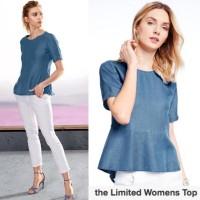 Th* l*mited top perplum denim blouse