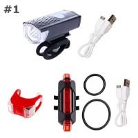 PAKET 3IN1 Lampu Sepeda Depan & Belakang LED Light