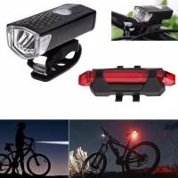 Paket 2in1 Lampu Sepeda LED Light Depan dan Belakang Rechargeable