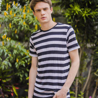 PALING LAKU Kaos Motif Garis Tees Big Stripe Lengan Pendek