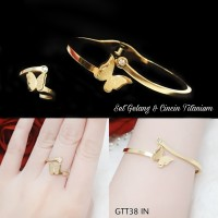Gelang titanium kupu set cincin GTT 38 IN