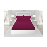 SPREI QUEEN CALIFORNIA POLOS EMBOSS FITTED 160X200 MAROON PLUM
