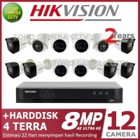 PAKET CCTV HIKVISION 8MP 16 CHANNEL 12CAMERA HDD 4TB