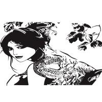 Stiker Dinding dengan Bahan Mudah Dilepas dan Gambar Tato Naga untuk