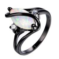 Cincin Kawin / Tunangan Hias Batu Opal Hitam Putih untuk Wanita