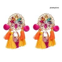 jew1 Boho Women Rhinestone Tassel Pompom Dangle Stud Earrings Long
