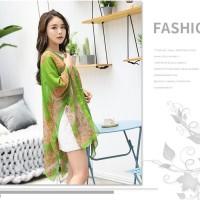 Floral Print Pantai Blouse Selendang / Blazer terbaru fashion wanita