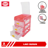 SHINPO Laci Susun Mini Plastik 3 Slot Rak Container Grace Mini Drawer