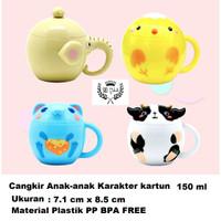 Mug kecil Cangkir Plastik anak Lucu PP BPA FREE 150 ml Dengan Tutup