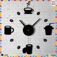 Jam Dinding DIY Giant Wall Clock Quartz Creative Design Model Kopi