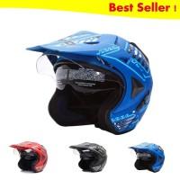WTO Helmet Pro-Sight Cross Double Visor Helm Half Face - Seablue Doff
