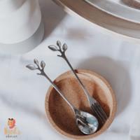 Leaf Spoon Fork/Sendok Garpu bentuk daun/Sendok Kopi Teh Lucu