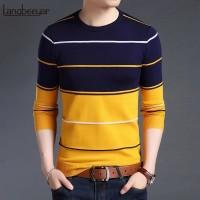 Atasan Kaos Cowok Harvest Lengan Panjang Baju Pria Fashion Motif Salur