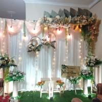 sewa dekorasi backdrop akad nikah/lamaran/wedding nuansa peach 3.3mtr