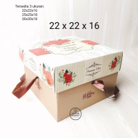 Dus kue kotak kue kotak cake box kue pudding rose flower ribbon 22cm