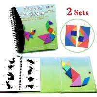 Travel Tangram Puzzle Magnetic Pattern Block Book Road Trip Game IQ E