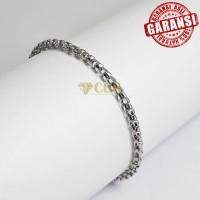 Premium Gelang Wanita Titanium Rantai Silver
