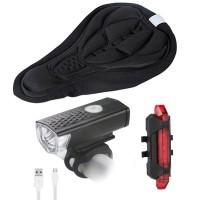 lampu sepeda set depan belakang saddle senter usb isi ulang waterproof