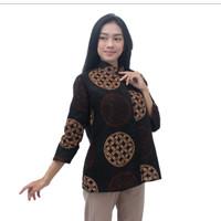 Batik Wanita Atasan Blouse Batik Lengan Panjang Kancing Depan S - 5L