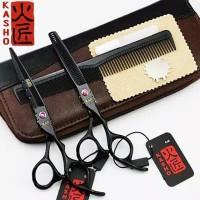 set gunting potong rambut paket sasak penipis besi stenlist