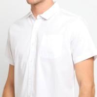 FTSL PPSS Kemeja Polos Putih Pria Lengan Pendek Simple Baju Katun Cowo - Hitam, XL