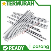 1 pasang Sumpit Makan Korea Polos Vakum Stainless Steel Drill SUS 304