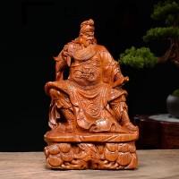 Pajangan Dekorasi Guan Yu Ukiran Kayu Asli Huanghuali 20cm