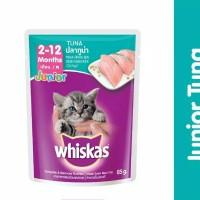 WHISKAS Pouch Junior sachet Makanan Kucing Tuna/Mackerel 85gr Kitten