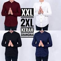 Kemeja Pria Kerah Shanghai Koko TK Lengan Panjang Big Size Jumbo XXL - Hitam, XXL